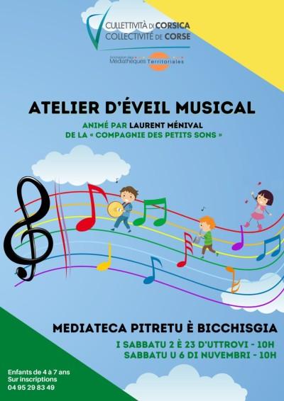 Atelier d'éveil musical - Laurent Ménival  - Cie des petits sons - Médiathèque - Petreto-Bicchisano