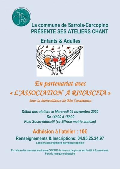 Ateliers Chant - Enfants & Adultes - Sarrola-Carcopino