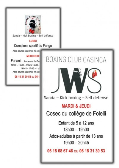 Sanda - Kick boxing - Self défense au JWS Boxing Club Casinca