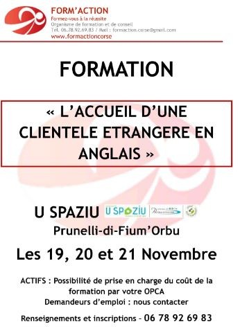 L'accueil d'une clientèle étrangère en anglais - U Spaziu - Prunelli di Fiumorbu