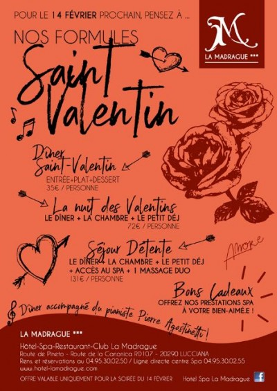 Saint Valentin - Hôtel Restaurant Spa La Madrague - Lucciana
