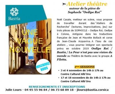 """Atelier théâtre autour de la pièce de Sophocle """"Oedipe Roi"""" - Centre culturel Alb'Oru - Bastia"""