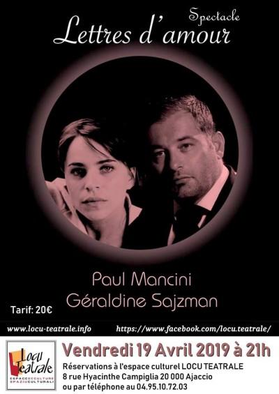 Paul Mancini et Géraldine Szajman - Lettres d'amour - Spaziu Locu Teatrale - Ajaccio