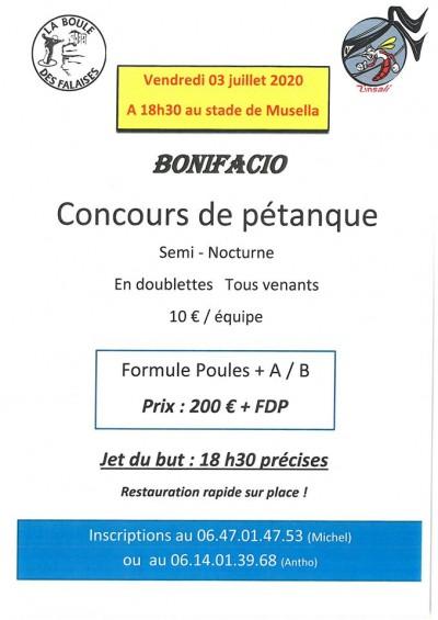 Concours de boules - La Boule des Falaises - Stade de Musella - Bonifacio