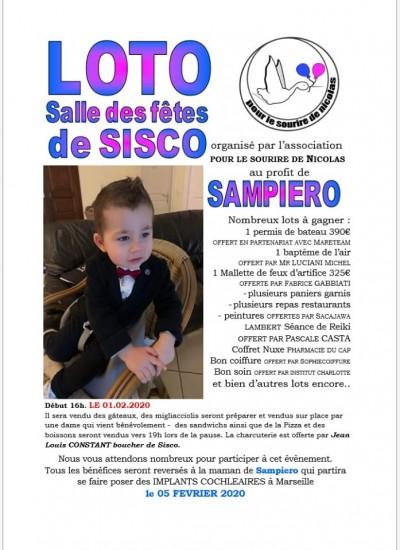 Loto au profit de Sampiero - Pour le sourire de Nicolas - Salle des fêtes - Sisco