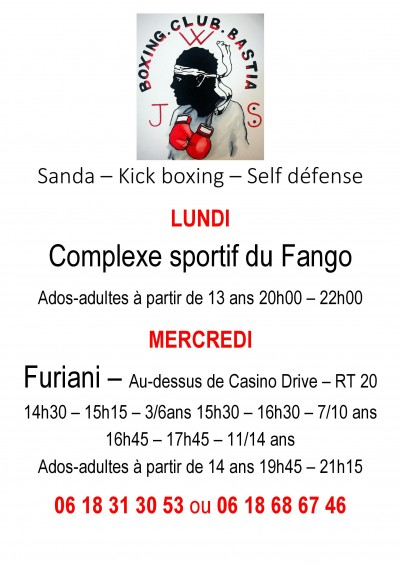 Sanda - Kick boxing - Self défense au JWS Boxing Club Bastia