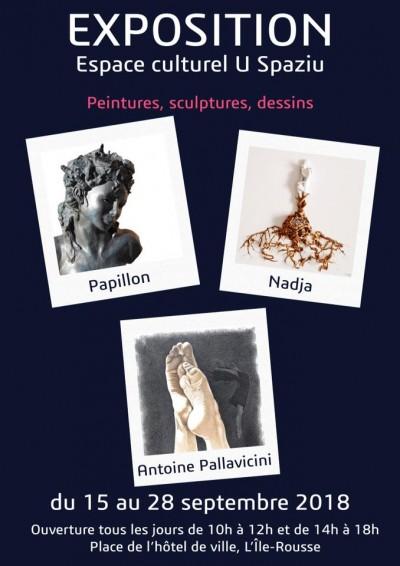 Exposition des artistes Nadja, Christine Papillon et Antoine Pallavicini à L'Île-Rousse