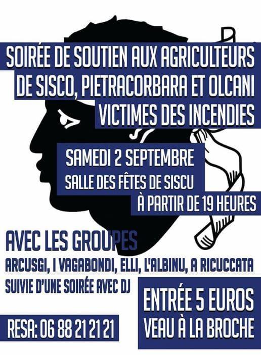 Soirée de soutien aux agriculteurs de Siscu Pietracorbara et Olcani victimes des incendies