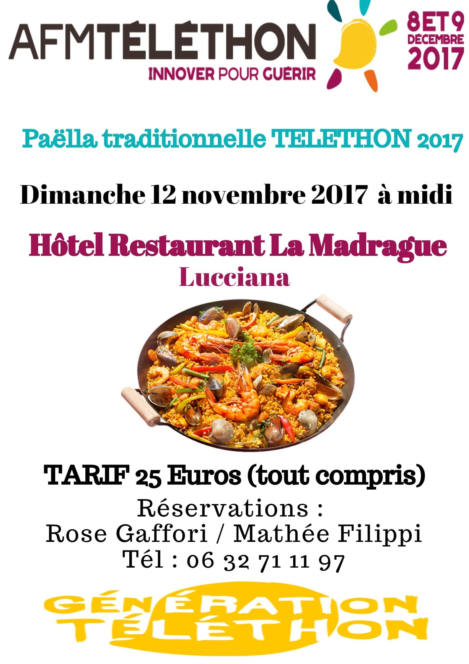 Paëlla traditionnelle TELETHON 2017 à La Madrague