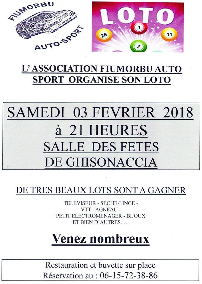 GRAND LOTO de l'ASSOCIATION FIUMORBU AUTO SPORT